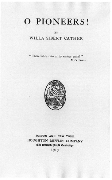 Reproduction of the title page from the first edition of O Pioneers!