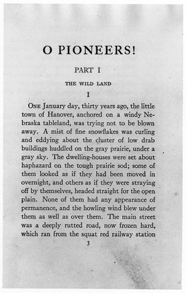 Reproduction of page three from the first edition of O Pioneers!