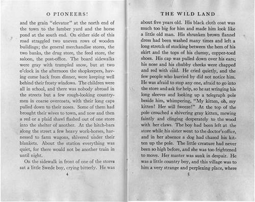 Reproductions of the pages four and five from the first edition of O Pioneers!