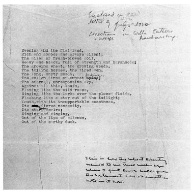 """Reproduction of typescript of the poem """"Prairie Spring"""" with handwritten corrections."""