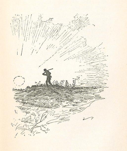 Image of 'Mr. Shimerda with a gun over his shoulder'