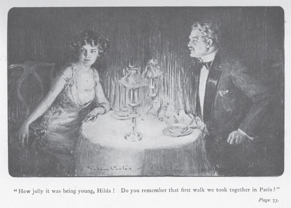 Illustration of Bartley Alexander and Hilda Burgoyne sitting at a table