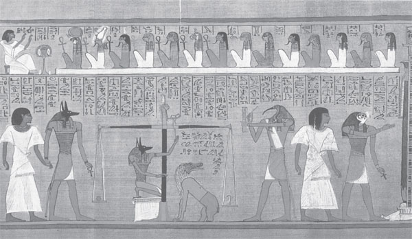 Photograph of an Egyptian judgment scene in the mummy room in the British Museum.