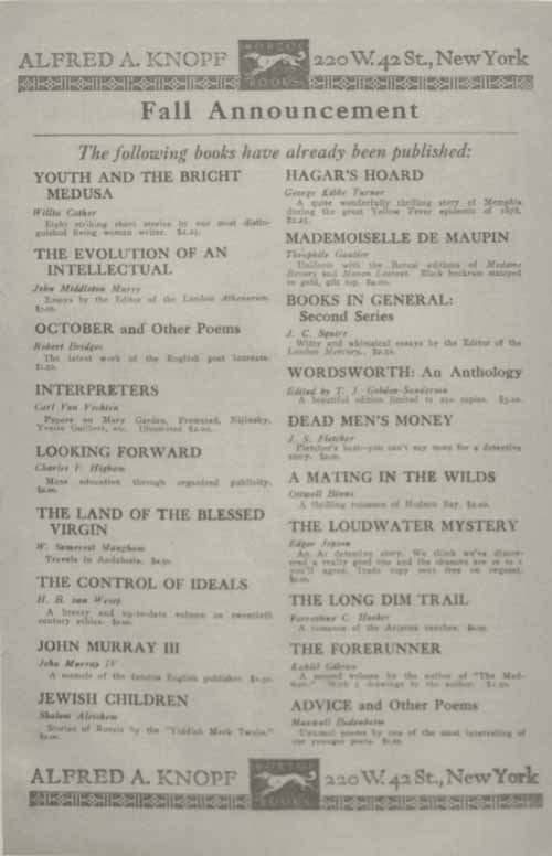 Advertisement for Youth and the Bright Medusa.