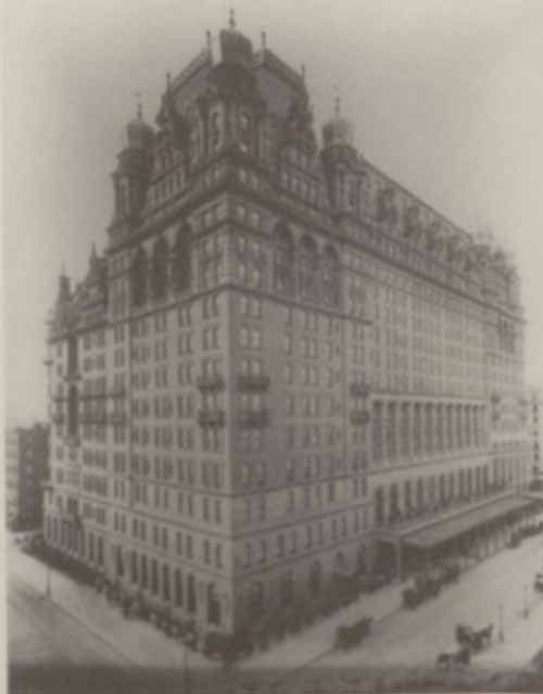 Photo of Waldorf-Astoria Hotel from the northeast, at Thirty-fourth Street and Fifth Avenue, 1898.