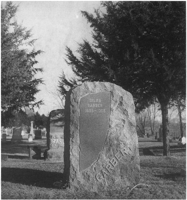 Photograph of Silas Garber's tombstone in the Garber plot.