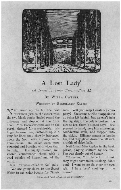 Scan of the first page of Part II of the serialization of A Lost Lady in Century, with an illustration by Bernhardt Kleboe of the Forrester house and the tree-bordered lane at the top of the page.