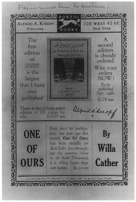 "Scan of pamphlet by Knopf advertising A Lost Lady and One of Ours, with a note in Willa Cather's hand at the top that reads ""Please send this to mother."""
