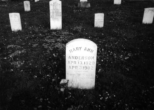 Photograp of the Mary Ann Anderson gravesite, Bethel Church graveyard, Trone, Virginia. Photo by the author.