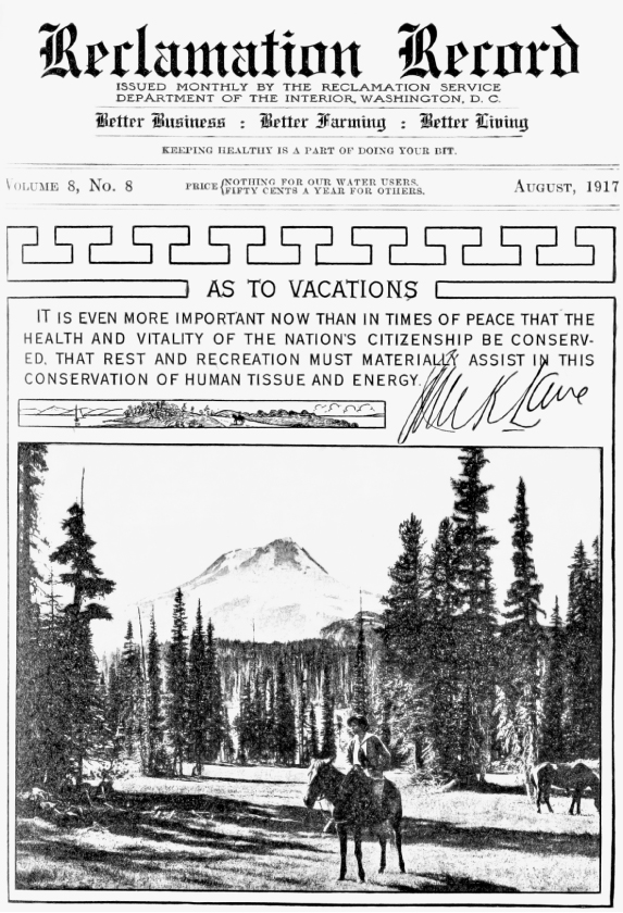Readers of the Reclamation Record were urged to fulfill their role in the war effort by keeping healthy through recreation.