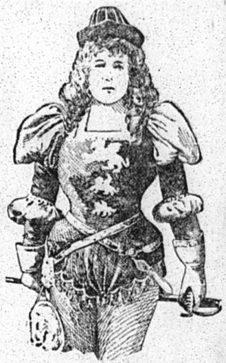 """Sketch of Marie Tempest in costume for """"The Fencing Master"""""""