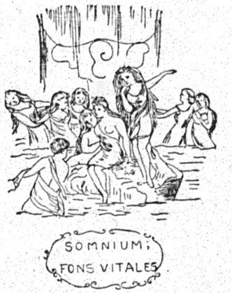 """sketch of curtain with nymphs and motto reading """"SOMNIUM; FONS VITALES"""""""