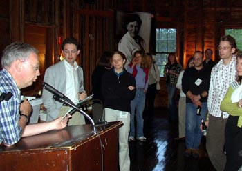 Image of Steve Shively hosts the Graduate Student Reception in the Barn