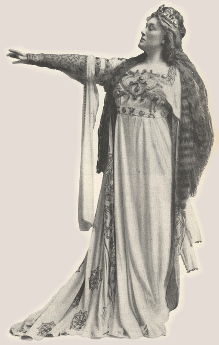 Illustration of Fremstad in costume standing with arm outstretched.