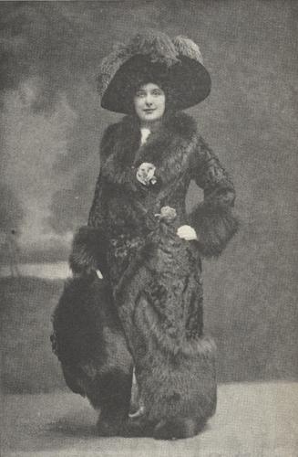 Illustration of Farrar posing in a fur costume.