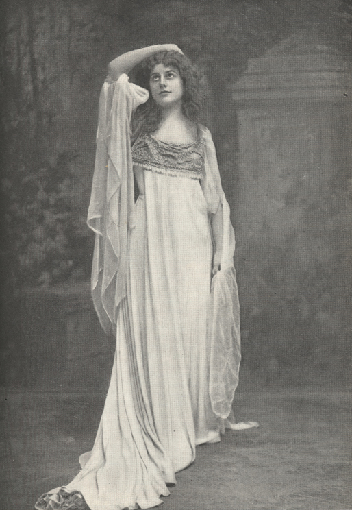 Illustration of Farrar in costume looking upward with arm resting on her head.