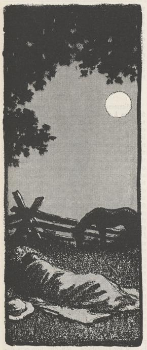 sketch of McClure sleeping in field