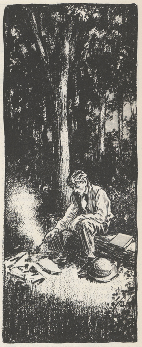 sketch of McClure cooking over a fire