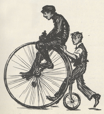 sketch of McClure helping a man learn to ride a bicycle