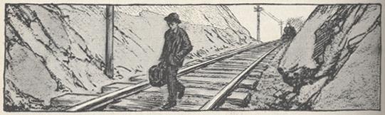 sketch of McClure walking on train tracks
