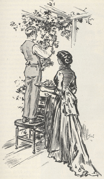 sketch of the McClure's picking grapes