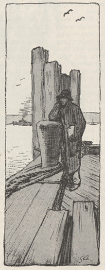 Sketch of man on dock