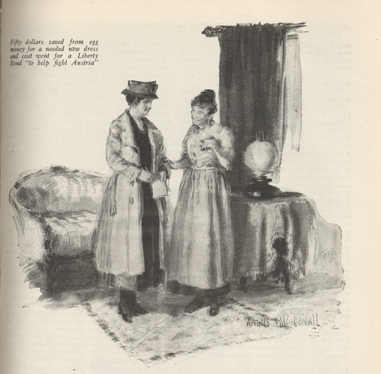 Illustratiion of two women standing in a parlor, one the Liberty Bond canvasser and the other the woman of the house who buys a Liberty Bond with her egg money.