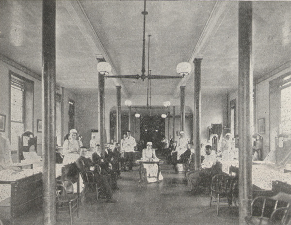 Photograph of the interior of a hospital ward.