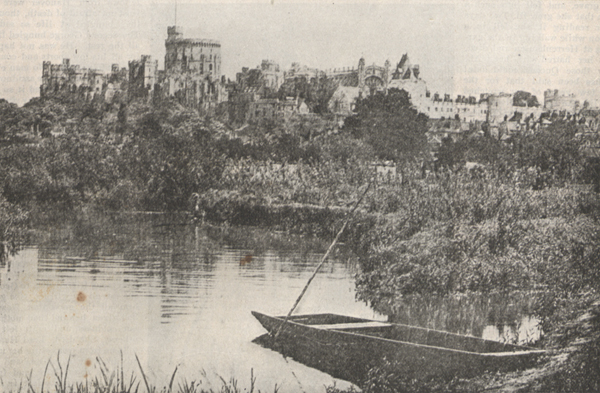 Illustration of Windsor Palace overlooking a lake.