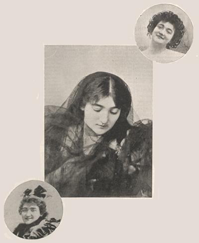 Three photographs of Emma Calvé.