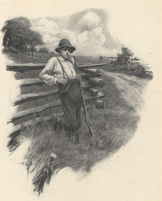 Illustration of a boy with a rifle leaning against a fence.