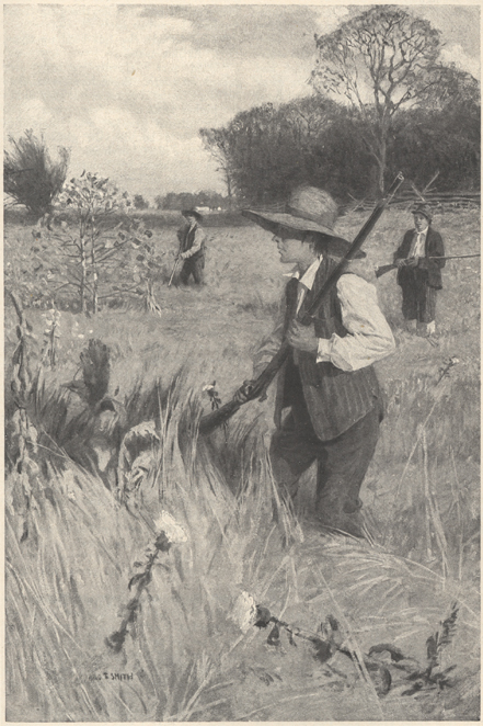 Illustration of boys with rifles walking through a field.
