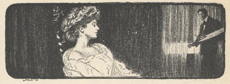 Illustration of woman in profile with man in the background looking at her.