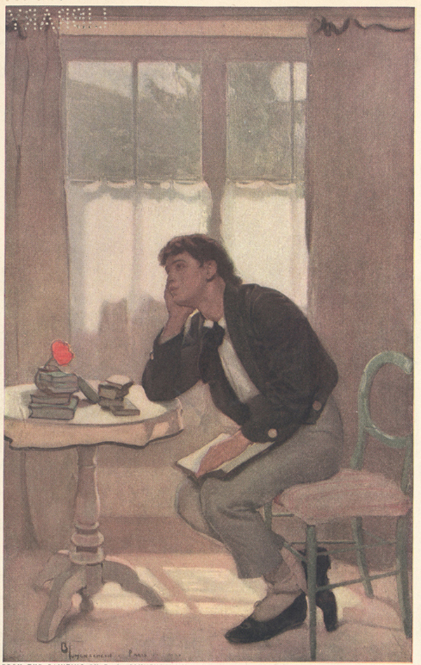 A painting of a young man, looking pensive and sitting at a table with an open book on his lap.