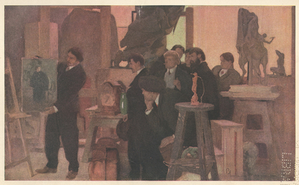 A painting of a group of young men looking at a portrait held by another young man.
