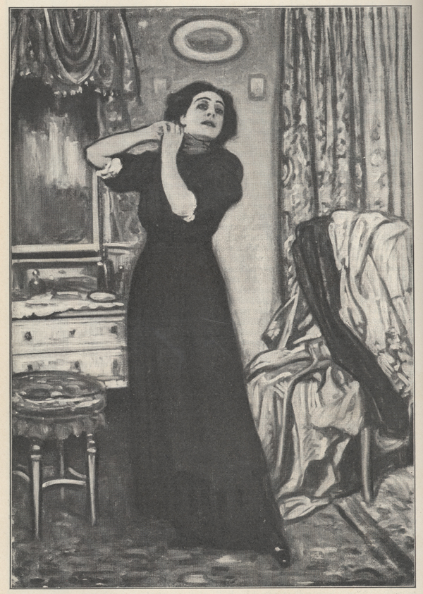 Illustration of a woman in a long dark dress tying a ribbon around her throat.