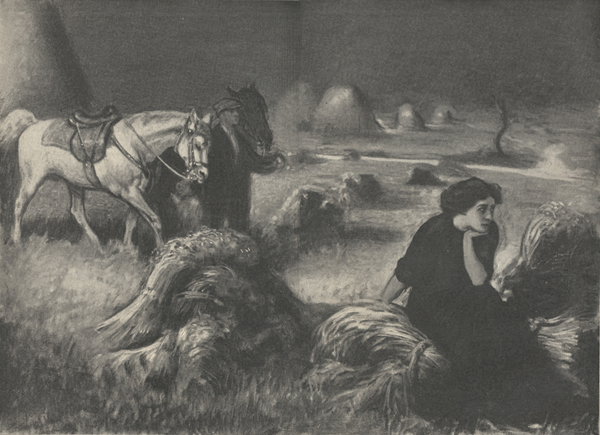 A drawing of a woman sitting on a sheaf of wheat, a man standing in the background with two horses.