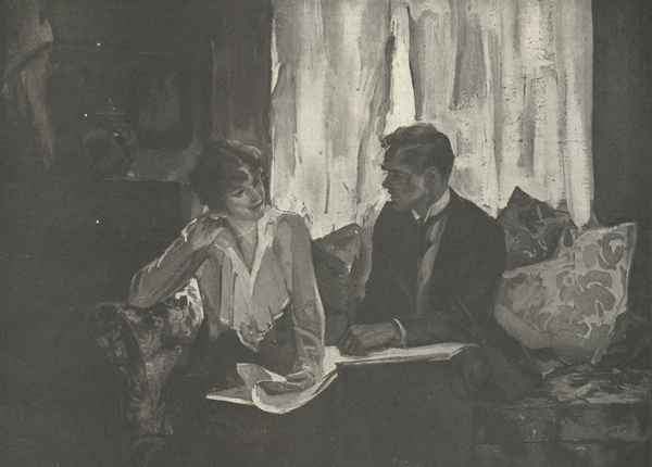Illustration of a man and a woman seated with a book in their laps but looking at each other.