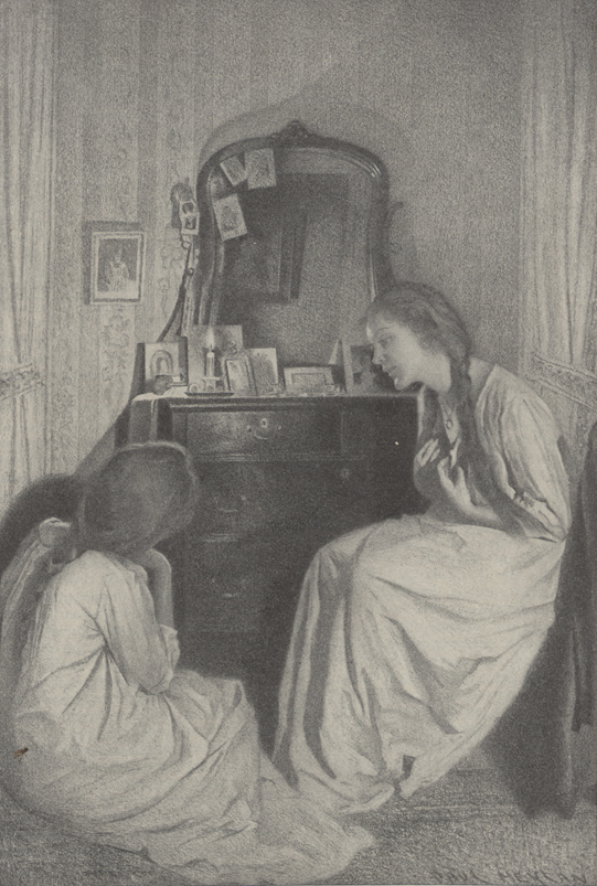 A drawing of two girls in nightgowns sitting and talking in front of a dresser