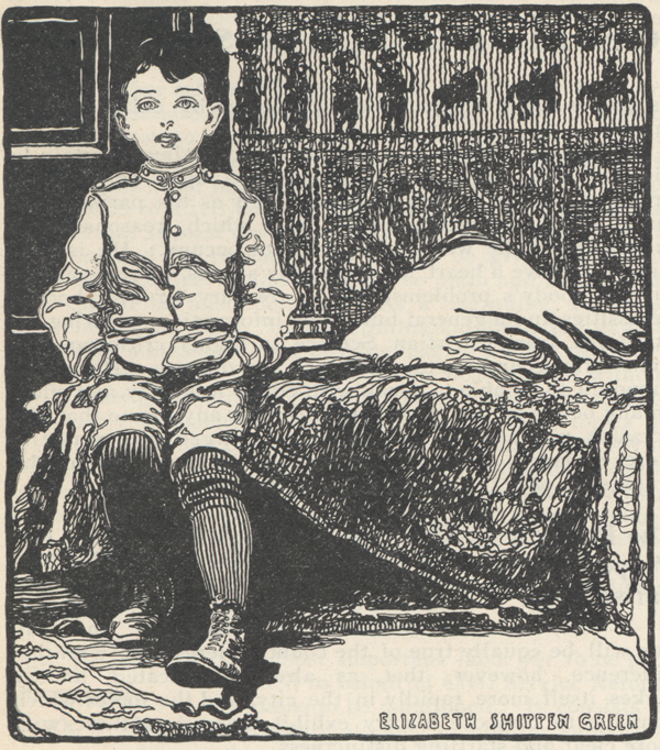 "Drawing of a little boy in ""soldier clothes"" sitting beside a bed."