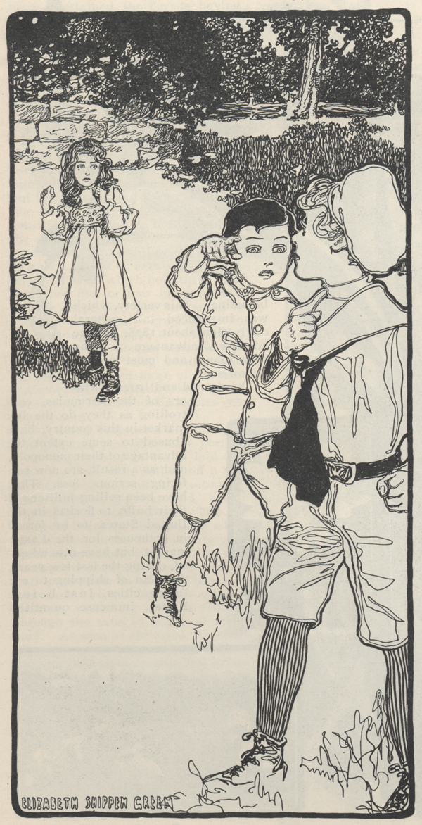Drawing of a little boy starting to grab another boy and a litle girl standing and looking frightened in the background