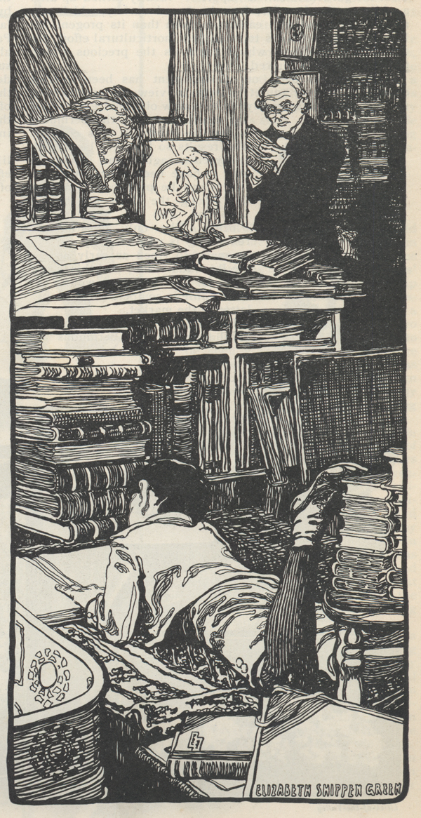 Drawing of a little boy lying on a rug on the floor and reading a book in a book-filled room while an old man in the background looks over at him.