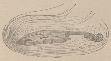 Line illustration of a violin.