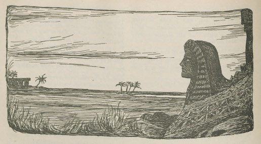 Illustration of the Sphinx and ruins in the desert.