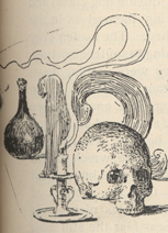"""Drawing of a skull, a candle in a candlestick, and a beaker, with a cursive letter """"n,"""" the first letter of the story, in the background."""