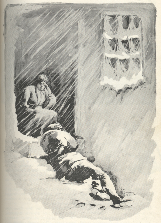 Drawing of a man lying on some steps in the snow, while a woman sits in the open doorway.