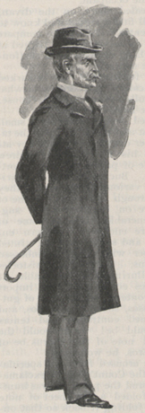 An illustration showng a man in a top coat and a hat, holding a can behind his back.