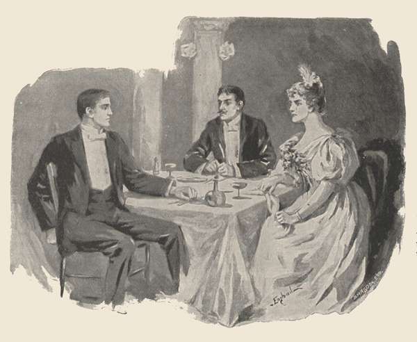 Illustration showing two men and a woman in evening clothes seated at a dining table.
