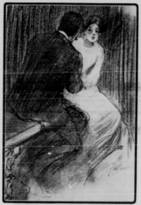 A drawing of a man and a woman sitting on a bench, the man seen from the back.