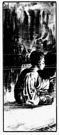 Drawing of Chinese woman kneeling.